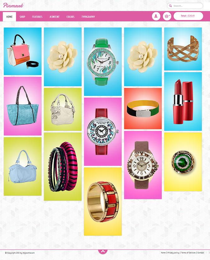 Pinterest Clone Joomla Virtuemart Theme