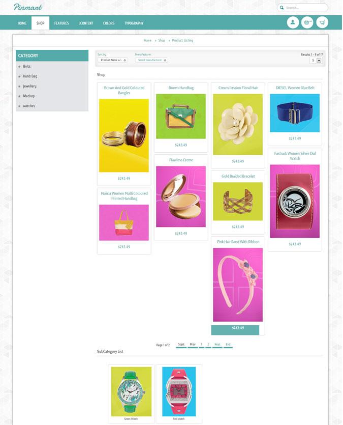 Pinterest Clone Joomla Virtuemart template