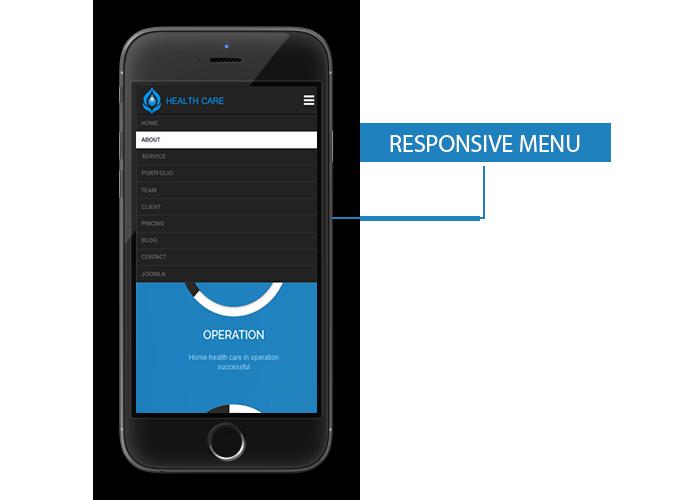 Responsive Menu for Healthcare Template Joomla